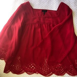 Red, sheer blouse